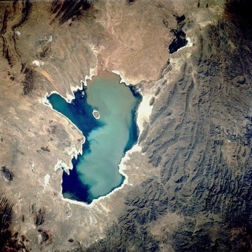 Aerial photo of Lake Poopó in 1991