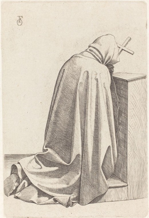 Artist	 Johann Friedrich Overbeck (1789–1869)  Title	Praying Monk Date	1826 Medium	etching with drypoint on chine collé Dimensions	plate: 11.3 x 7.6 cm (4 7/16 x 3 in.) sheet: 16.2 x 11.2 cm (6 3/8 x 4 7/16 in.) Current location