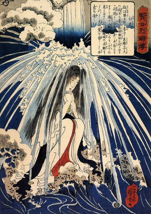 Author	 Utagawa Kuniyoshi (1797–1861)  Description	 This selection is from stories of wise and virtuous women This print illustrates Hatsuhana (初花) doing penance under the Tonozawa waterfall for the cure of her son s knee, until the austerities kille