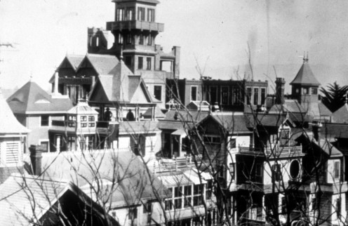 This is the actual famous Winchester house, which is still around today.