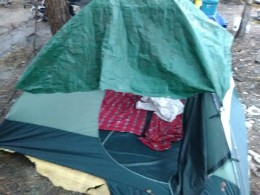 A tent belonging to a homeless person.