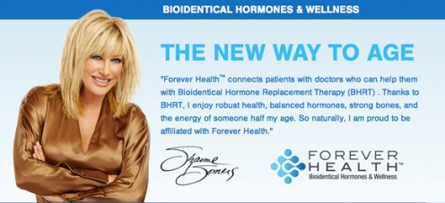 Suzanne Somers promoting bio-identical hormone replacement therapy