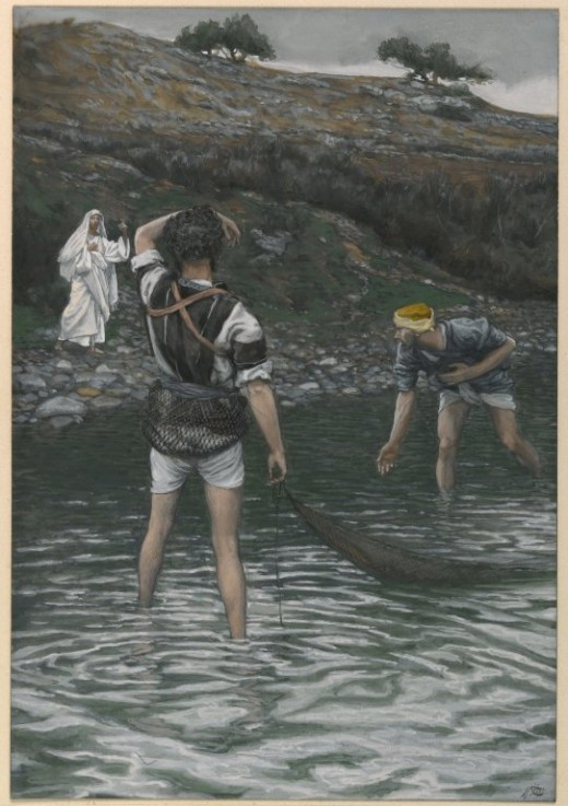 Artist James Tissot (1836–1902) Title Français : Vocation de Saint Pierre et Saint André English: The Calling of Saint Peter and Saint Andrew   Datebetween 1886 and 1894