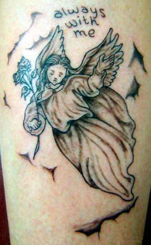 """Always With Me"" angel tattoo."