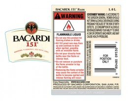 Bacardi 151 (76% alcohol)