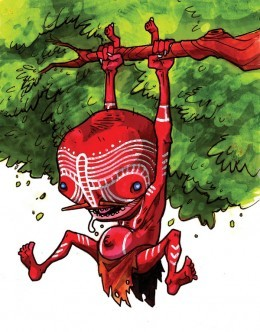 Artist's depiction of a Yarama (based on description by Aboriginal Australians)