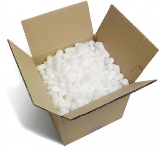 Packing box with peanuts.