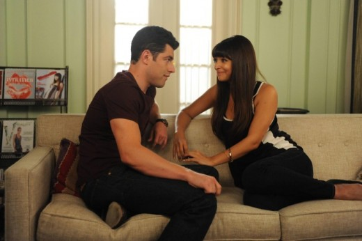 Cece (Jess's best friend) and Schmidt (one of the roommates)