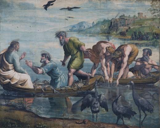 Artist Raphael (1483–1520)  Title Deutsch: Petri Fischzug  wikidata:Q3900659 MediumTeppichkarton Current location Victoria and Albert Museum