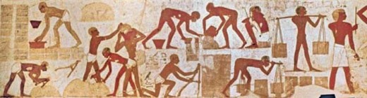 Slaves making mud bricks. Tomb of Rekhimire the Vizier of Thutmose 3rd and Mayor of Thebes (circa 1,500 BC) note the guy on the lower right, the overseer with a big stick to hit slackers with! The slaves were the 'Apiru' or lowlifes