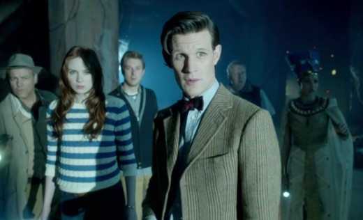 "The Doctor and his gang from ""Dinosaurs on a Spaceship"""