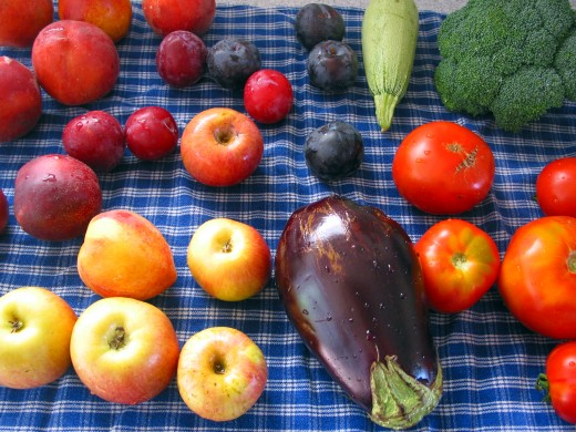 Assorted fruits and vegetables make a balanced diet