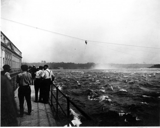 James Harris being pulled to safety.  Re-printed with permission from Niagara Falls Public Library