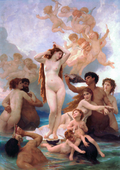 """The Birth of Venus"" by William-Adolphe Bouguereau, c. 1879.  In myth, Venus-Aphrodite was born of sea-foam."