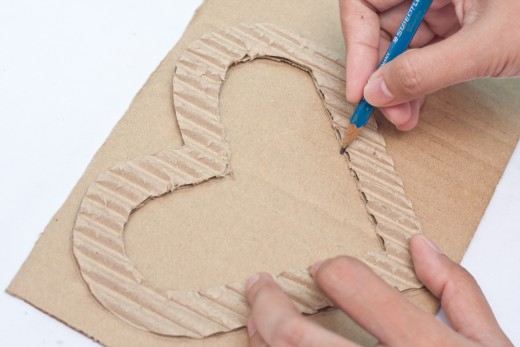 Trace another heart on the cardboard