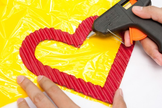 Glue the yellow cellophane to your cardboard heart