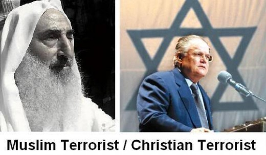 Photo Comparing Hagee With A One Time Hamas Leader.