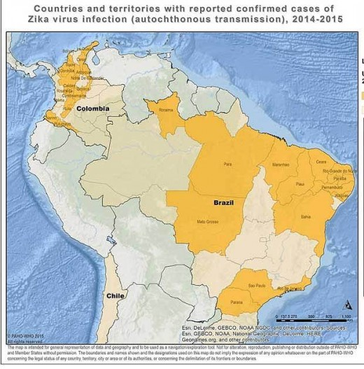 Countries confirmed with Zika virus cases