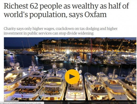 Last year 84 people owned half the world's wealth.  Five years before that, a few hundred owned half the world's wealth.