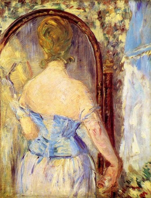 Woman facing the mirror