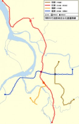 Proposed Taipei Rapid Transit Route Map in 1986