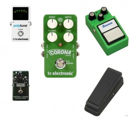 Five essential guitar effects pedals - Tuner, Chorus. Overdrive. Delay and Wah-wah