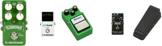 Five essential guitar effect pedals - Tuner. Chorus, Overdrive, Delay and Wah-wah
