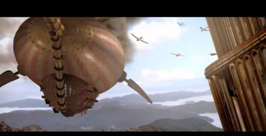 A screenshot of an air battle in the short film.