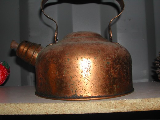 Old copper tea kettle