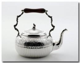 Hammered pewter tea kettle