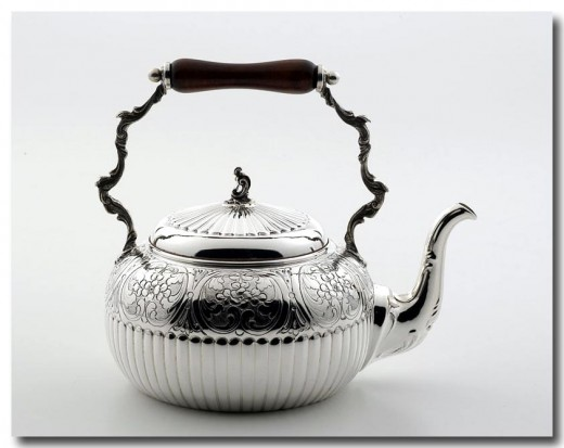 Hammered pewter tea kettle