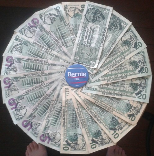 What a pretty display. Money, the very symbol of rampant capitalism, being used to promote the candidate who will bring some sense to our country.