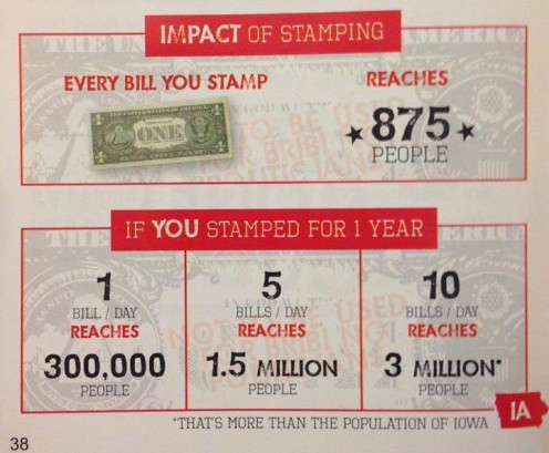 Every bill you stamp reaches 875 people over time.