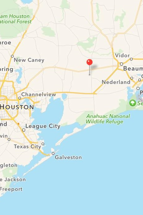 Map of the Shooting Site between Houston and Beaumont Texas