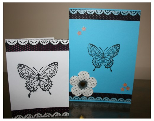 These were made from card and a block butterfly print in black ink.