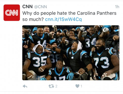 "Look at how the media portrays Cam Newton and his teammates. They zoomed in enough to cut out the white guys standing on the edges to make it look like a gang of ""thugs""."