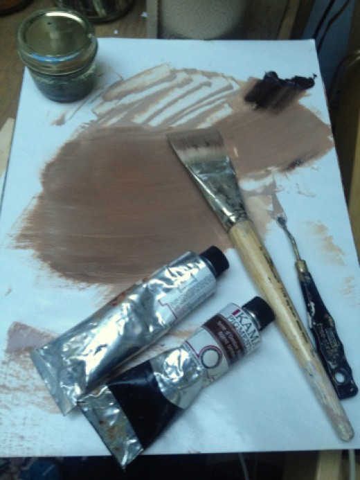 Burnt umber and underpainting white