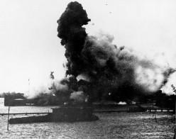 USS Arizona's magazine explosion, at Pearl Harbor, 7 December 1941