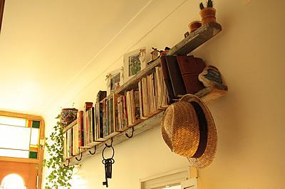 Vintage wooden ladder bookshelves
