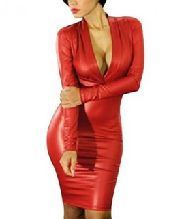 Sexy Red Leather Dress