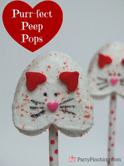 These heart shaped peep pops are a great dessert idea for kids on Valentine's Day