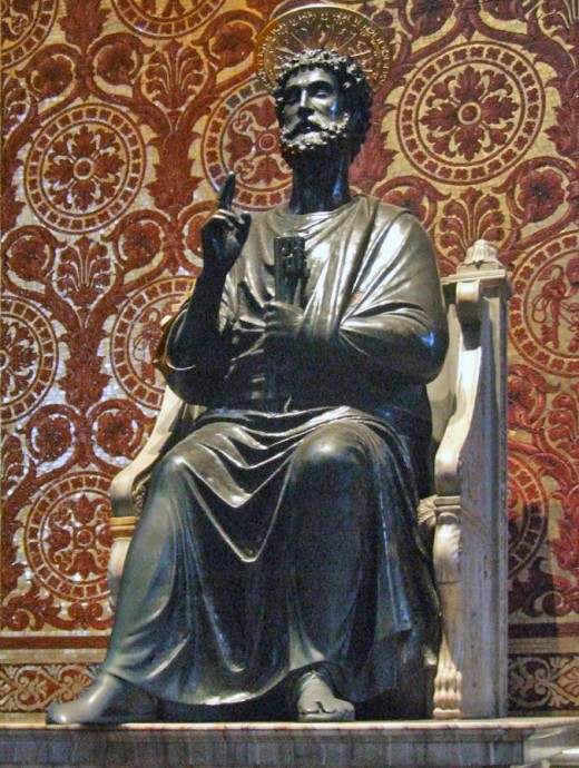 Ancient statue of St. Peter in St. Peter's Basilica, Rome. Possibly the work of Atnolfo di Cambio