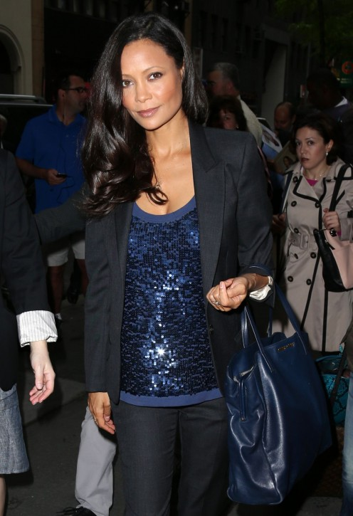 Actress Thandie Newton is seen here leaving NBC Studios in New York City.