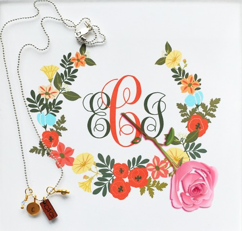 Monogrammed gift with flower - the best personal gift.
