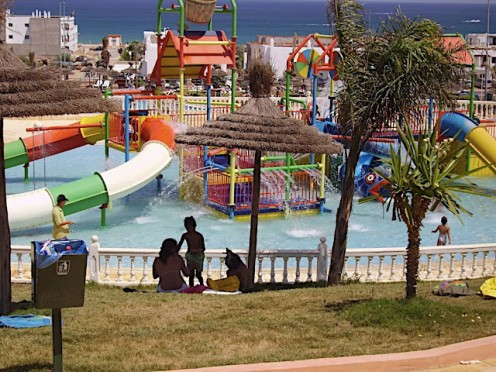 A water fun park makes a change from the beach