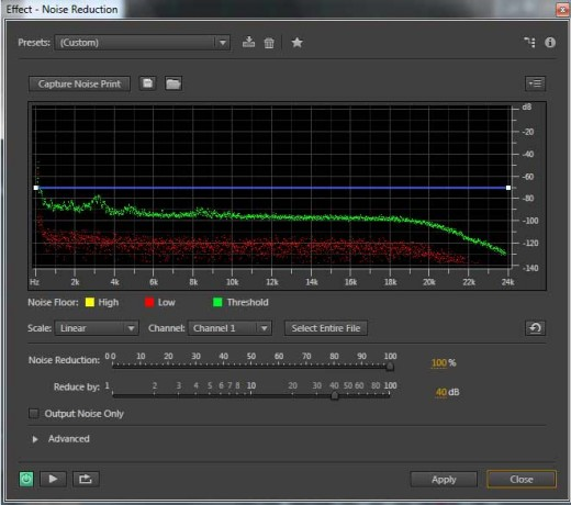 Remove background noise: the noise reduction process window. Press Capture noise print, Selecte entire file, and Apply.