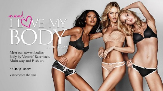 Victoria's Secret models pose for an ad on their website. Victoria's Secret is usually the target for criticism by body positivity groups.