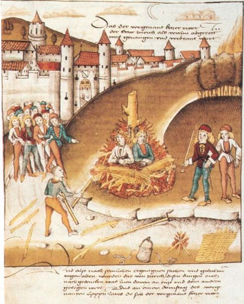 A knight and squire being burned at the stake for sodomy, c. late 15th century