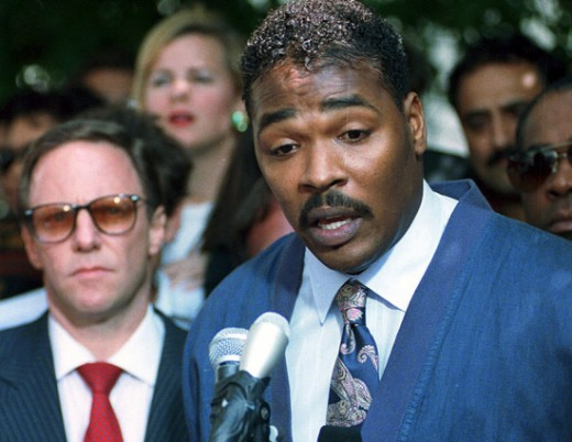 Rodney King speaks to the press after the Infamous Los Angeles Rioting
