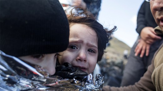 Rescued men, women and children on Lesbos Island, Greece.